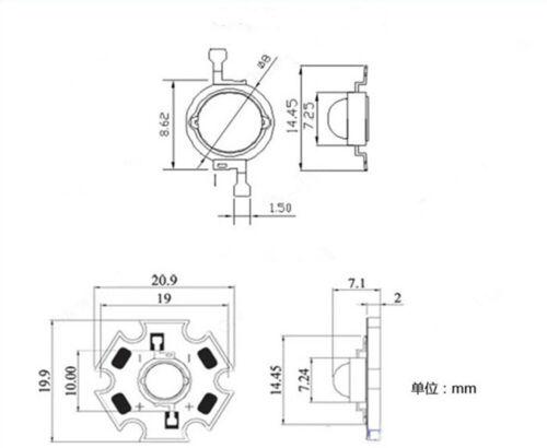10pcs 1 W 3 W UV DEL 417-420 Presque comme neuf Ultraviolet DEL haute puissance Perles Avec 20 mm Star Base