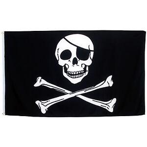 Fahne-Pirat-mit-Knochen-Querformat-90-x-150-cm-Totenkopf-Hiss-Flagge