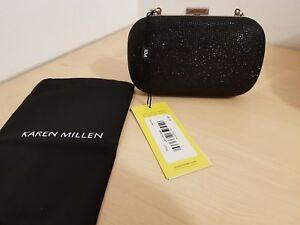 New-KAREN-MILLEN-Glitter-Fabric-Clutch-Bag-Black-with-Gold-Chain-Strap