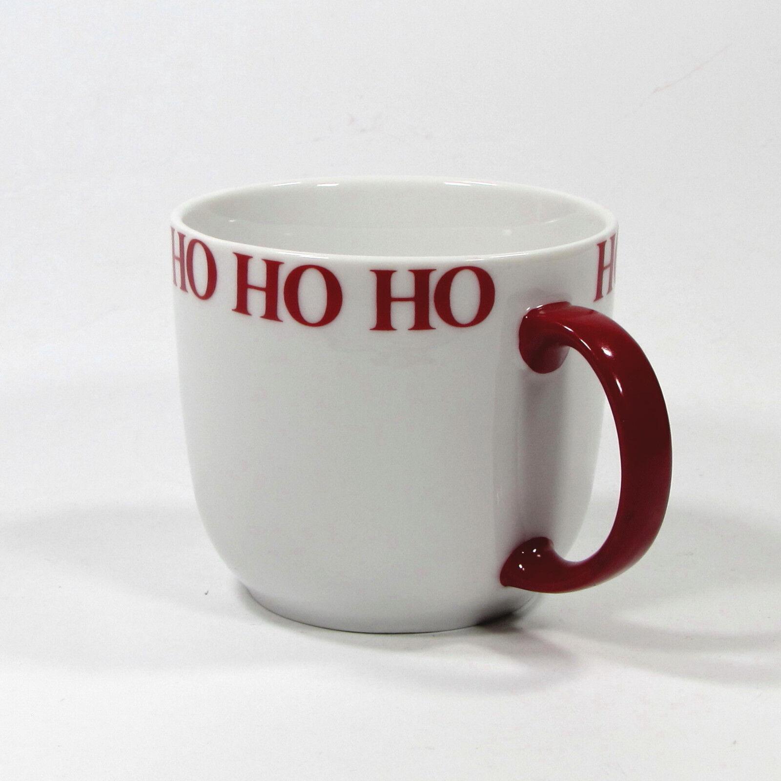 Set of 2 Crate /& Barrel HO HO HO 12oz Mug Cup #293-059 White Red Handle ho ho