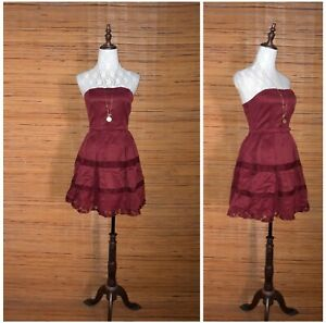 STRAPLESS-BURGUNDY-SHORT-HOMECOMING-COCKTAIL-DRESS-S-M