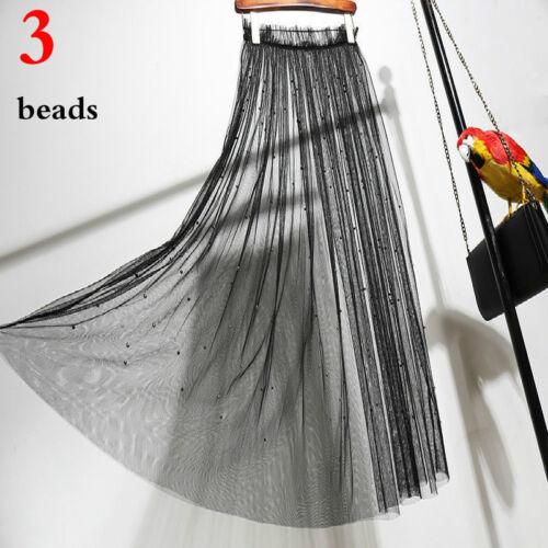 Damen Schier Rock Tutu durchsichtig Tüll Gestreift Netz Ballkleid