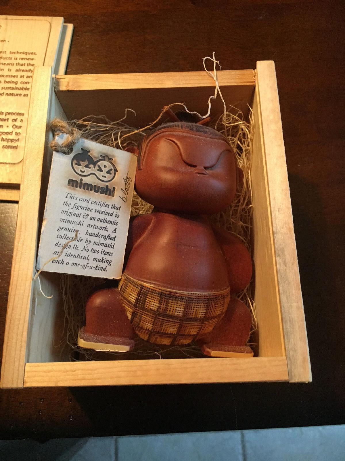 Mitaisho Mimushi Hand Crafted Wooden Sumo Wrestler Warrior in Box Box Box FREE SHIPPING 9e1b8c