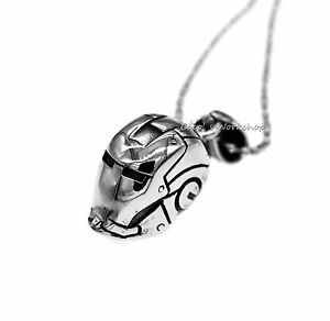 316l stainless steel mens 3d iron man necklace gift pendant chain image is loading 316l stainless steel mens 3d iron man necklace aloadofball Images