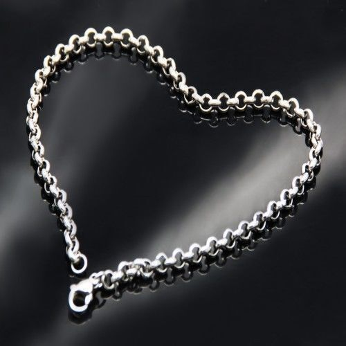 """7-11/"""" 3.5//4.7//6//8mm 316L Stainless Steel Silver Women Men/'s Rolo Chain Bracelet"""