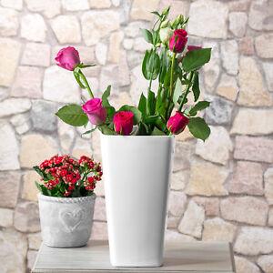 2 X 29cm Gloss White Plastic Flower Vases Tall Plant Flower Pots