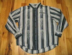 Harley-Davidson-White-Blue-Cotton-Skull-Floral-Long-Sleeve-Button-Up-Shirt-Men-L