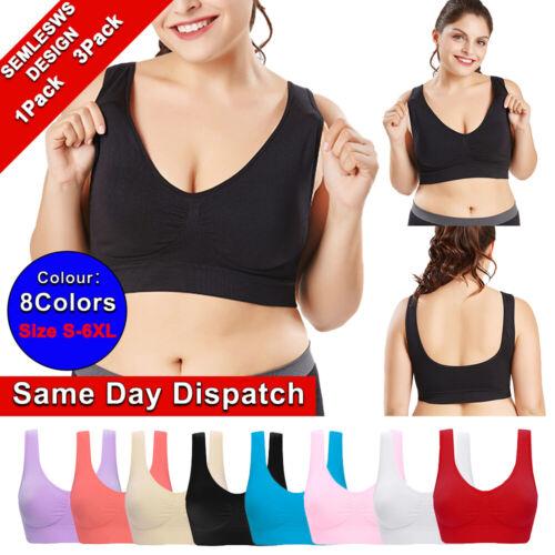 Plus Size Womens Padded Wireless Seamless Bra Fitness Gym Sports Yoga Vest Top