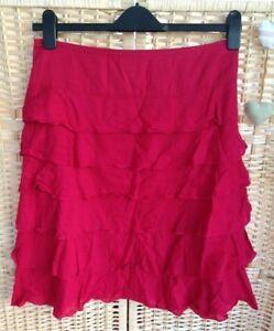 75684a4222 Monsoon Size 8 Layered Rah-rah short Skirt red 100% Cotton zip side ...