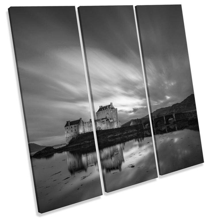 Eilean Donan Castle Scotland B&W TREBLE CANVAS WALL ART Square Print Picture