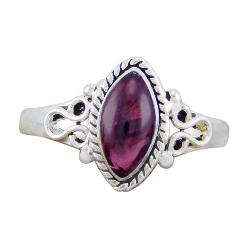 Natural Sterling Silver 925 Garnet Marquise Ring Size-6,7,8,9 US-04