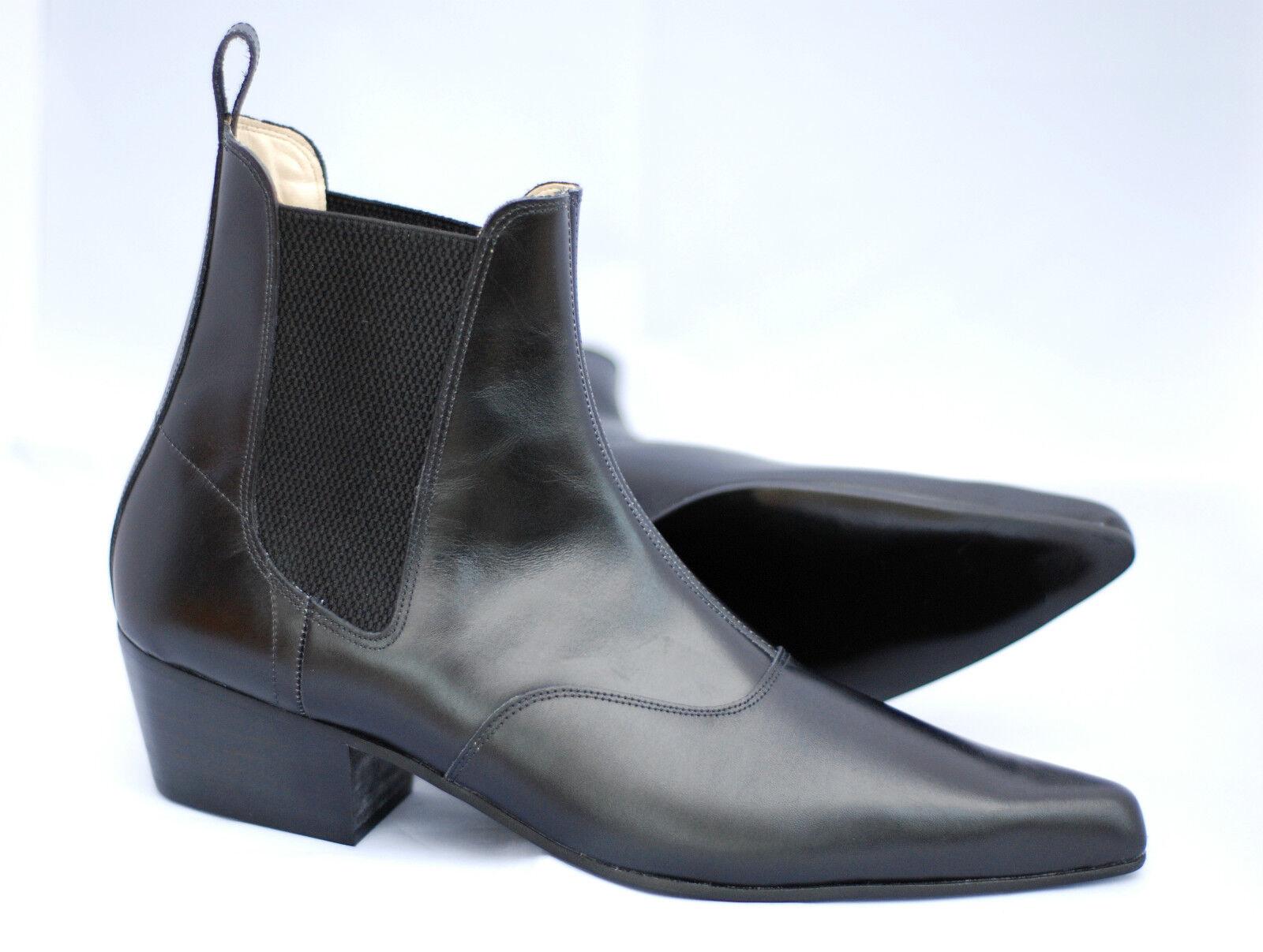Mens Retro Sole Black Leather Beat Mod Beatle Winklepicker Boots with Cuban Heel