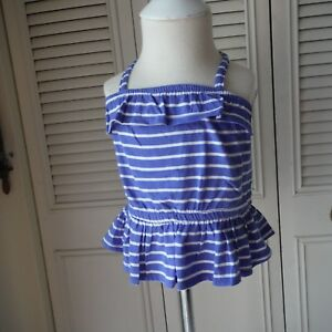 Girls-Blue-amp-White-Ruffle-Tank-Top-shirt-size-18-24-months-Old-Navy-New-tags-NWT