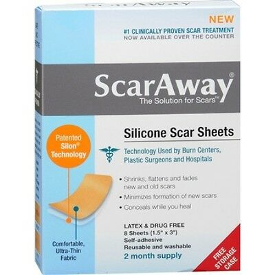 CHEAPEST ON EBAY! ScarAway Silicone Scar Sheets 8 Each 2 Months Supplies