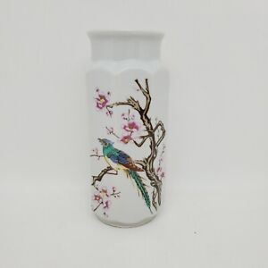 Vintage Octagonal White Ceramic Vase Jar Blue Multicolored Bird Cherry Blossoms