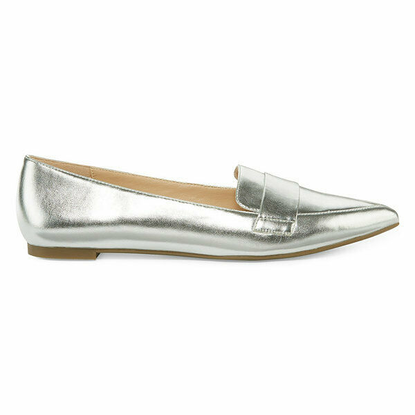 a.n.a-Glen Ballet Flats Slip-on Pointed Toe shoes, Size : 7 M , Silver
