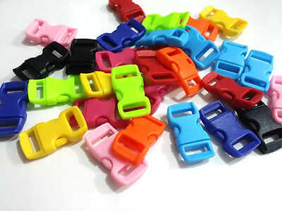 "100pcs 3/8"" Curved Side Release Plastic Buckle  for Paracord Bracelet Mixed"