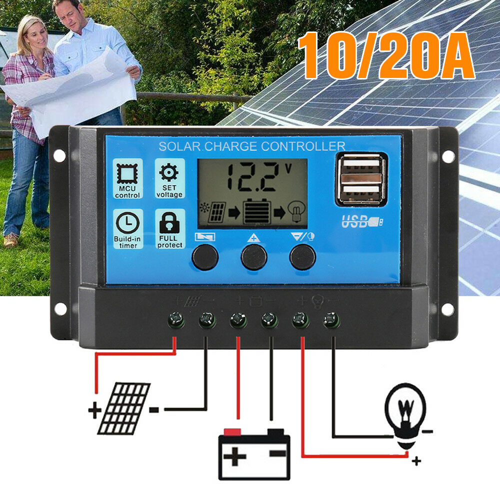 30A MPPT LCD Solar Panel Battery Regulator Charge Controller Dual USB Portable