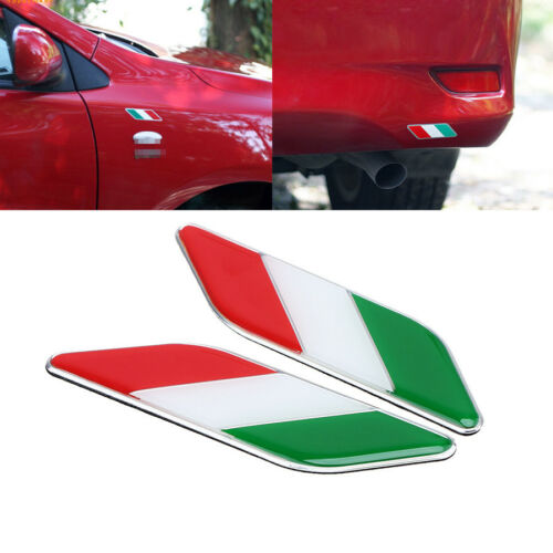 1Pair Chrome Alloy Italy Italian Flag Car Chrome Emblem Decal 3D Sticker