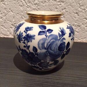 delfter porzellan vase kobaltblau mit goldrand ebay. Black Bedroom Furniture Sets. Home Design Ideas
