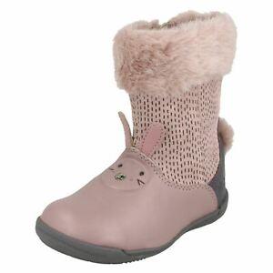 Details zu Mädchen Clarks Stiefel Rosa Leder Häschen Binkies Pelz Lang Schuhe Größe Iva