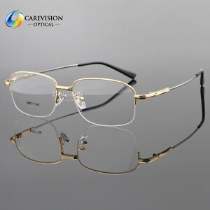 s large size half rimless memory metal eyeglasses