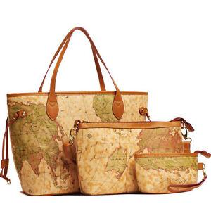 3 Pcs New Women Vintage World Map Leather Handbag Shoulder Bag Totes