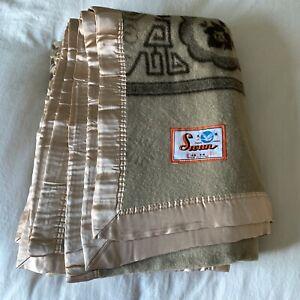 Vintage Swan Blanket NWOT Brown Rayon Acrylic Satin Trim