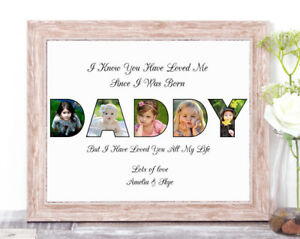 Personalised Daddy Photo Collage Word Art Birthday Gift Keepsake
