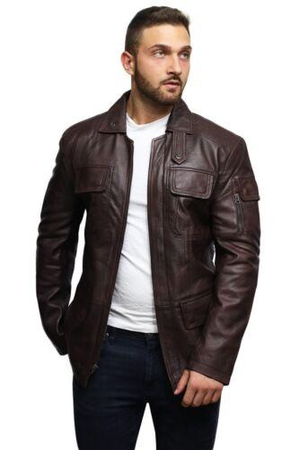 Brandslock Mens Genuine Leather Jacket World War 2 Military Coat Retro Vintage