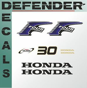 Details about Honda 30 hp Four Stroke outboard engine decal sticker set kit  reproduction 30HP