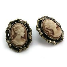 Antique Vintage Design Brown Romantic Cameo Stud Post Pierced Earrings Silver t1