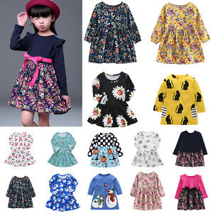 Toddler Baby Girls Dress Long Sleeve Princess Party Pageant Dresses Kids Clothes