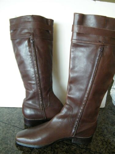 Antonio Melanie Brown Leather Tall Boots zip Eques