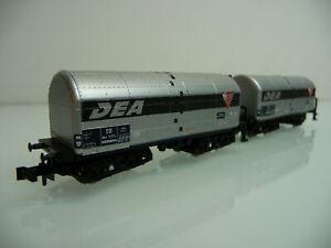 Minitrix-N-1-160-18074-2-teiliger-Schweroel-Kesselwagen-Zug-DEA-4-achsig-silber