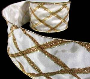 2-Yds-Christmas-Elegant-Classy-Ivory-Gold-Tinsel-Luxury-Wired-Wide-Ribbon-4-034-W