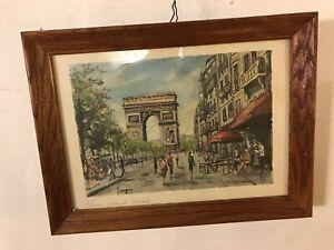 Antique-Print-Vargas-Paris-Champs-Elisse-oakFramed-glass-C8pix4detail-MAKE-OFFER