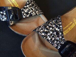 0dea58603c55c Image is loading Birkenstock-Flip-Flop-Sandals-Multi-Size-Swarovski-Crystal-
