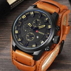 Curren-Army-Military-Quartz-Mens-Watches-Leather-Boys-Watch-Sport-Wrist-Watch-UK