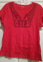 St.john's Bay Red Embroidered Shirt