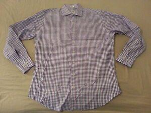 Mens-Peter-Millar-Plaid-Dress-Shirt-L-Large-Blue-White-Cotton-Button