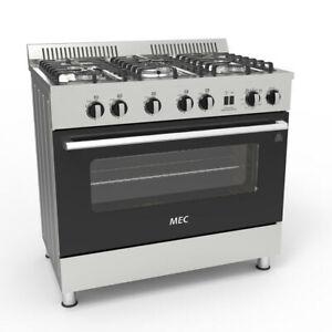 Mec 90cm MGG90 Freestanding 5 Burner Gas Hob w/ 120L Oven/Gril/Tray Silver