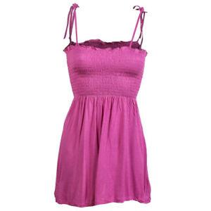 Pink-Summer-Cami-Strappy-Bandeau-Bardot-Holiday-Maternity-Sliming-Smocked-Top