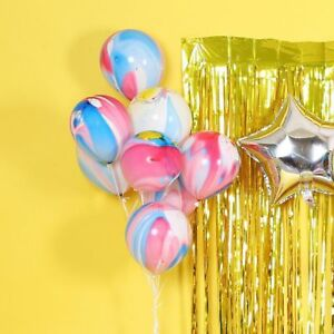 30//15//7  RAINBOW PARTY BALLOONS FUNKY COLOURED MARBLE EFFECT DECORATION BIRTHDAY