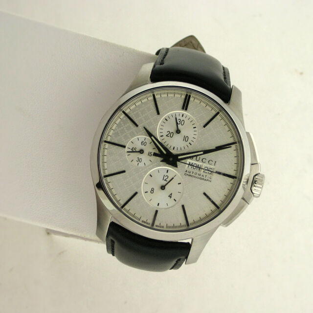 9b19db924f1 Gucci Swiss YA126265 Chronograph Automatic Mens Leather Stainless Watch