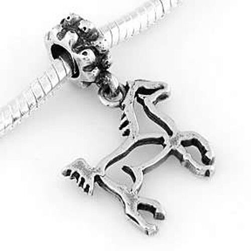 Sterling Silver Dangle cheval Cadre Perle Européenne