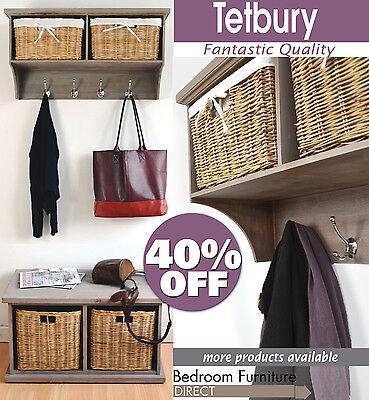 TETBURY Hallway shelf with coat rack and storage baskets.Storage bench available
