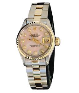 Rolex Datejust Ladies Yellow Gold & Steel Watch Pink MOP Diamond Dial 6917