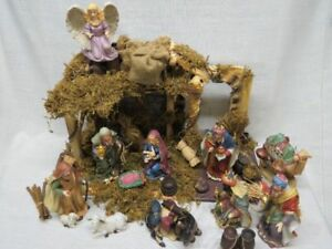 vintage home interiors homco nativity with stable set 54035