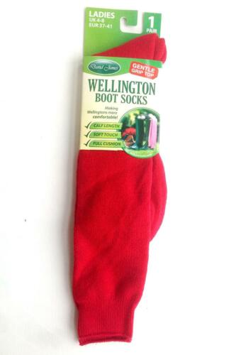 New Ladies Girls Plain Wellington Welly Boot Socks Red Size 4-8